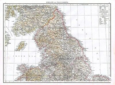 ENGLAND and WALES (North) Showing Town Populations - Antique Map 1899