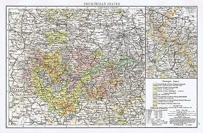GERMANY Thuringian States Showing Town Population Sizes - Antique Map 1899