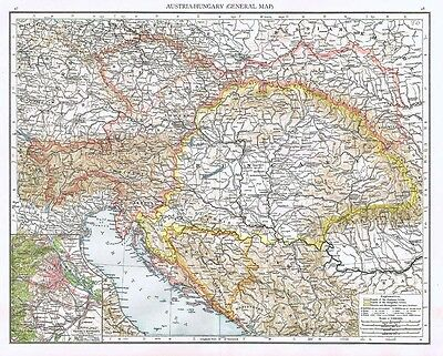 AUSTRIA and HUNGARY (General) with inset of Vienna - Antique Map 1899