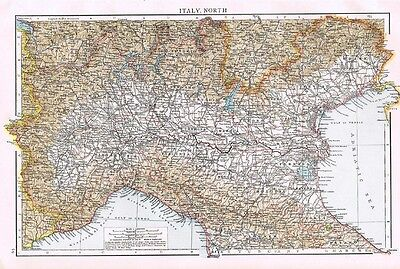 ITALY (North) Antique Map 1899 from The Times Atlas