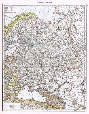 RUSSIA in Europe Showing Town Population Sizes - Antique Map 1899