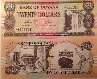 Guyana 1996 20 Dollars P-30 Uncirculated Banknote Kaiteur Water Falls & Ferry !!