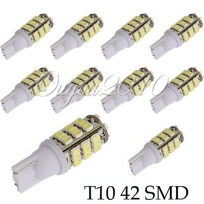 T10 W5W 501 42 LED SMD Xenon White Wedge SIDE LIGHT /INTERIOR /NUMBER PLATE BULB