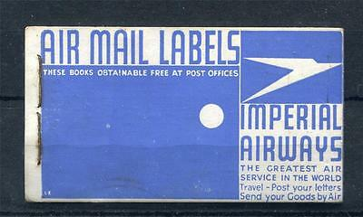 Imperial Airways Air Mail Labels Booklet Complete