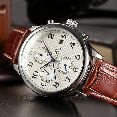 New KS Imperial Men Luxury Automatic Mechanical Date Day Leather Wrist Watch+Box