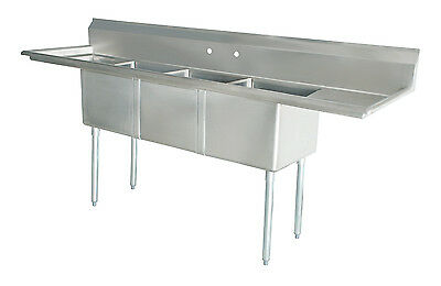 New Commercial Kitchen (3) Three Compartment Sink 90 x 24 NSF