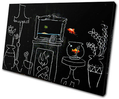 Banksy Painting Goldfish SINGLE CANVAS WALL ART Picture Print VA