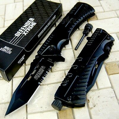 Black Tactical Survival Spring Assisted Open Pocket Knife Fire starter Camping