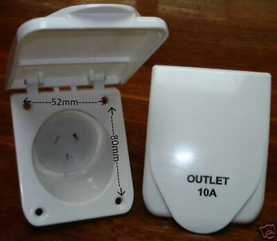 10 amp Electrical Power Outlet White Caravan RV Camper Trailer Accessories Parts