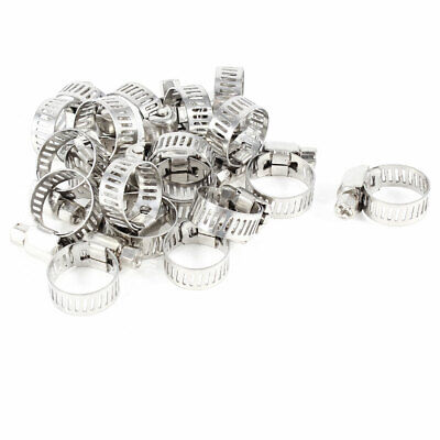 20 Pcs Adjust Stainless Steel Worm Drive Hose Clips Fastener Clamp 10mm-16mm