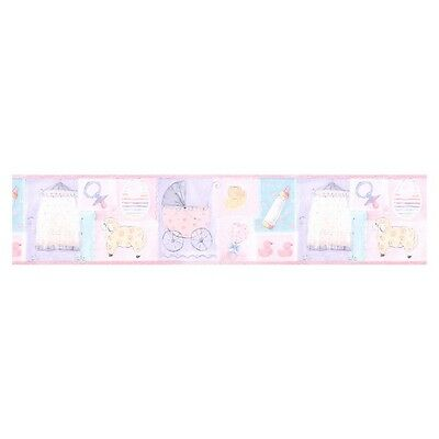 Norwall LW79176 Nursery Baby Blocks Pink Wallpaper Prepasted Border New