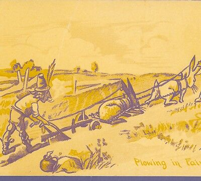"Fairy Farmers With Rabbits ""plowing In Fairyland"" Vintage Postcard"