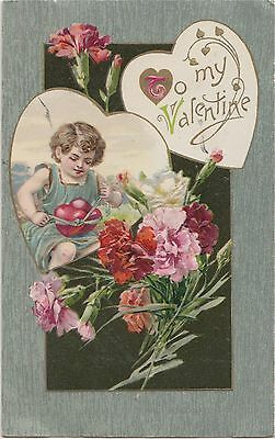 VALENTINE'S DAY Love Postcard 1909 TYING UP HEART Flowers #210
