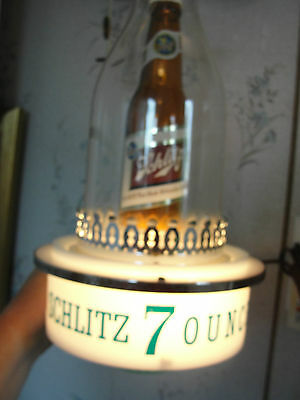 SCHLITZ illuminated sign, light, beer bottle, 7 Ounce, old, wall hanging