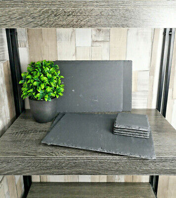 8 Piece Slate Set 4 x Square Coasters & 4 x Placemats Coffee Table Mug Drink Mat