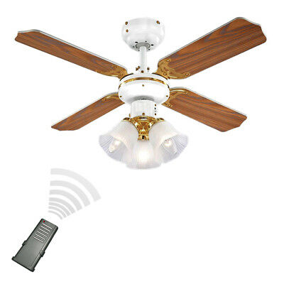 Remote Control White Brass & Oak Effect 3 Speed Ceiling Fan with Light / Lights