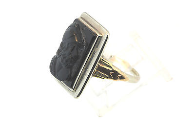 ESTATE  ART DECO 14K YELLOW & ROSE GOLD ON BLK JET w/ROMAN SOLDIER SIGNET RING