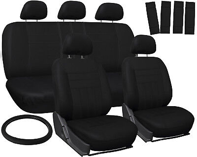 Car Seat Covers for Honda Civic Solid Black w/Steering Wheel/Belt Pad/Head Rests