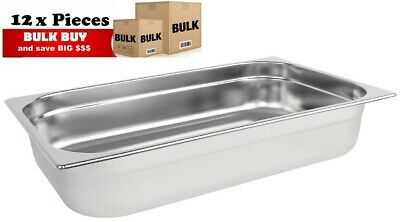 12PCS S/STEEL CONTAINER GN 1/1 GASTRONORM TRAY FOODGRADE 100mm DEEP