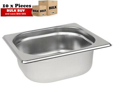 10PCS S/STEEL CONTAINER GN  1/6 GASTRONORM TRAY FOODGRADE 65mm DEEP