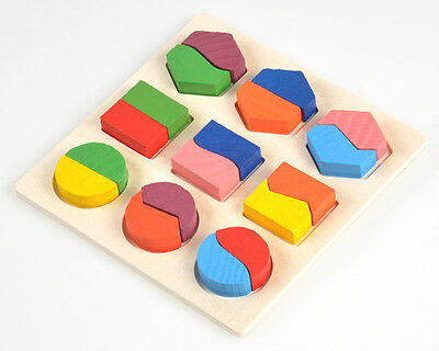 Colorful Wooden 3D Basic Baby Toddler Wooden Building Developmental Toys Puzzle