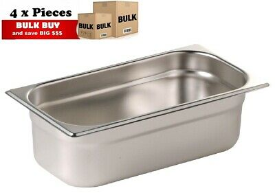 4PCS S/STEEL CONTAINER GN  1/3 GASTRONORM TRAY FOODGRADE 150mm DEEP