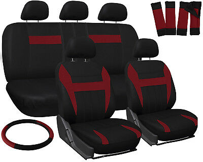 Truck Seat Covers for Ford F150 Red Black w/ Steering Wheel/Belt Pads/Head Rests