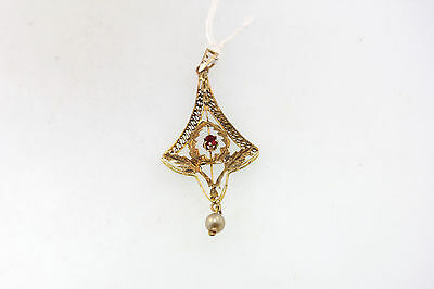 VICTORIAN 14k Y/GOLD LAVALIER CREATED RED STONE FRESH WATER PEARL DANGLE PENDANT