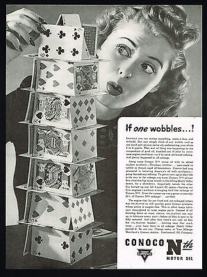 1942 Conoco Oil House Of Playing Cards Continental Co Print Ad