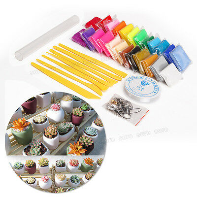 24 Colours Fimo Polymer Clay Pack Set DIY Oven Bake Modelling Clay Kit Moulding