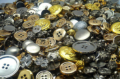 Shiny Silver & Gold Craft Buttons mixed large small Round Bulk Sewing 100g 200g