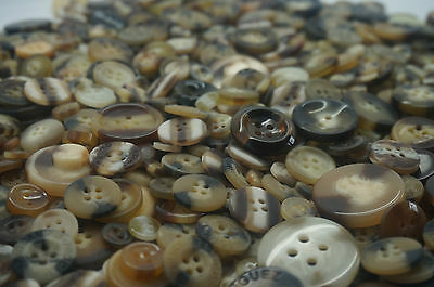 Brown & Cream Vintage Craft Buttons mixed size large small Round Bulk 100g 200g