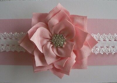 "Assorted Colours Newborn/Baby/Toddler/Girl Headband/ 3"" Silk Layered Flower"