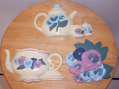 Home Interior Teapots & Pansies Set of 3 Wall Plaques