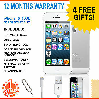 Apple iPhone 5 - 16 GB - White & Silver (Unlocked) Smartphone
