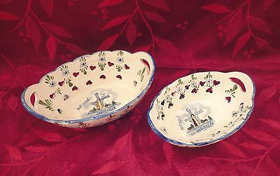 2 Delft Blue Pierced Oval Nesting Basket Dish ~ Handles ~ Handpainted in Holland