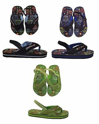 Boys / Kids / Toddlers Flip Flops With Elasticated Heel Strap Size 6-11