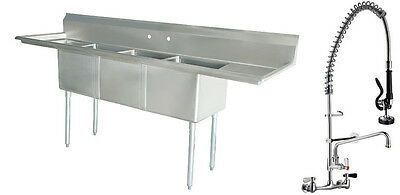 Commercial Stainless Steel (3) Three Compartment Sink with Pre-Rinse Faucet