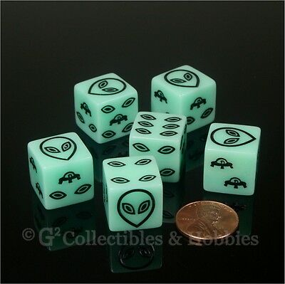 NEW Set of 6 Alien UFO Dice Glow in the Dark D6 RPG Gaming Six Sided D6s