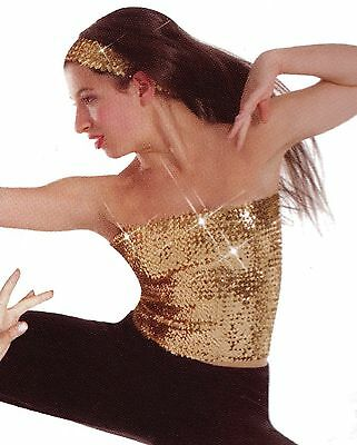 NWT BODY WRAPPERS DANCE GOLD SEQUIN TUBE TOP ADULT or child  ONE SIZE # 7367