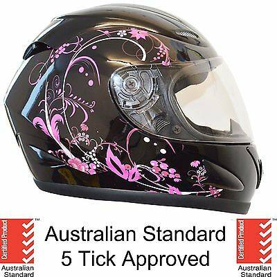 NEW FULL FACE MOTORCYCLE MOTOR BIKE HELMET ADULT 5 tick approved PINK FLOWER