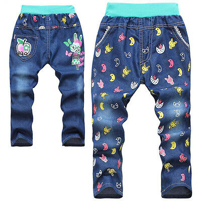 Brand New Rabbit Bunny Kids Girls Dark Blue Jeans Casual Pants Trousers 2-6Y