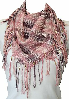 RJM Ladies Checked Arab Scarf with Beading