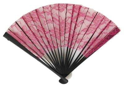 Burlesque Lace Chinese Wedding Fan Burgundy Victorian Geisha Costume Accessory