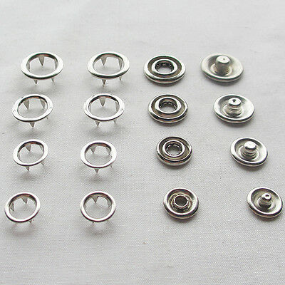 100/50sets Open Ring Snap Press Fastener Button Size 9/10/12/14mm Upick