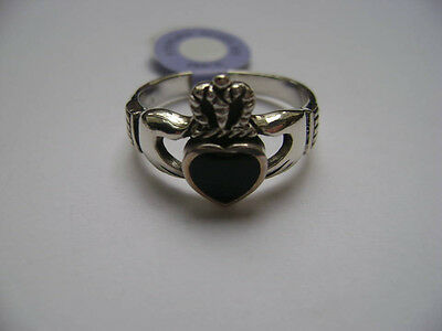 Sterling Silver Celtic Black Onyx Inlay Claddagh Irish Ring New
