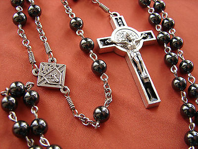 HEMATITE KNIGHTS OF COLUMBUS ROSARY STRONG CHAIN K of C Medal St. Benedict Cross