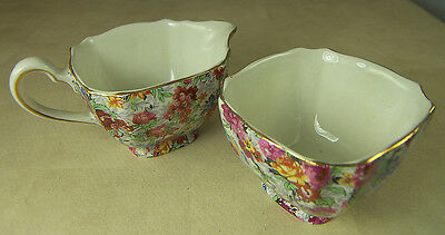 VINTAGE LORD NELSON WARE CHINTZ MARINA SUGAR BOWL & CREAMER MADE in ENGLAND