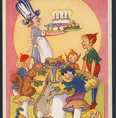 """""""bunny's Birthday"""" Party For Elf,brownie,fairies,mouse,toadstool,steele,postcard"""