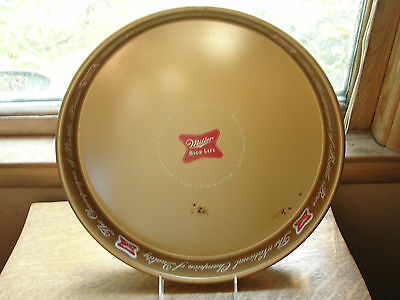 Miller High Life copper looking metal serving tray, old,Champagne of Bottle beer